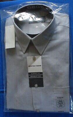 $84 GEOFFREY BEENE Men CLASSIC FIT GRAY TEXTURED CASUAL DRESS SHIRT 16 34//35 L