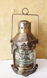 Ankerlampe Schiffslampe Messing antik mit Petroleumbrenner 24 x Ø 12 cm