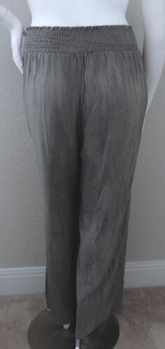 Plus 1X 3X Maitai Smocked Waistband Wide Leg Palazzo Pant Stone Grey New!