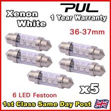 5x 36mm 37mm NUMBER PLATE INTERIOR LIGHT FESTOON BULB 6 LED XENON WHITE 239 272