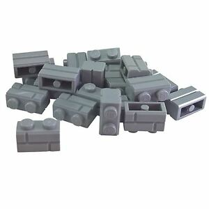 20-NEW-LEGO-Brick-Modified-1-x-2-with-Masonry-Profile-Light-Bluish-Gray