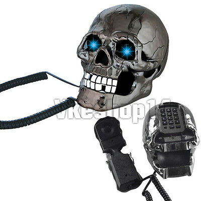 Novelty Horrible Skull Head Home LED Eyes Flashing Phone Corded Telephone