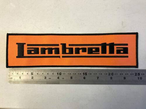 - Embroidered Black//Orange Iron or Sew On Lambretta LARGE BACK PATCH