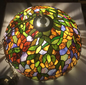 Vintage-Gorgeous-Dale-Tiffany-Signed-Art-Stained-Glass-Hanging-Light-21-inch