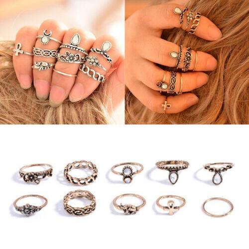 10Pcs//Set Fashion Femmes Punk Vintage Knuckle ANNEAUX ethnique style hippie Ring