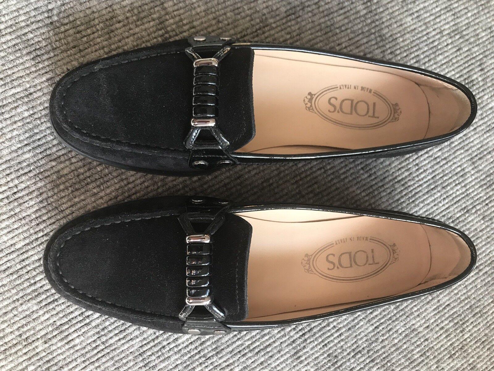 Tods Damenschuhe Loafer 38 Schwarz Lack-Velourleder Mix wie neu