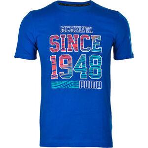 Puma FUN SUMMER 1948 Blue DryCell Regular Fit Tee Top T-Shirt 836592 ... 6a294ce572db8