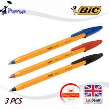 NEW Genuine BIC Orange Fine 0.7mm Easy Glide ballpoint pen Black Blue Red 3 PCS