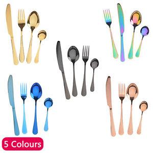 4pcs-Arc-en-Couverts-Ensemble-Acier-Inoxydable-colore-irise-Forks-Piece