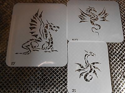 Airbrush Temporary Tattoo Stencil Set 30 Dragons New by Island Tribal!