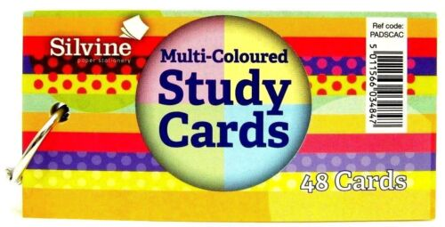 White//Ruled//Coloured Office School Silvine Revision Record Card Flash Index