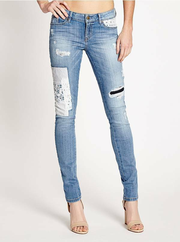New Guess Women Mid-Rise Patched and Mended Skinny Jeans SZ 26