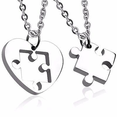 Necklace Heart Jigsaw Pendant & Chain