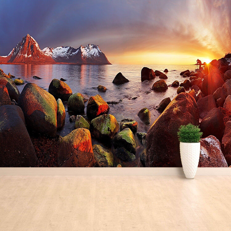 Papier-Fototapete Fototapeten Tapete aus Papier Poster Foto Ozean Norwegen