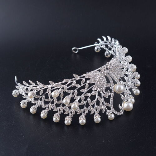 6cm High Large Swan Pearl Crystal Wedding Bridal Party Pageant Prom Tiara Crown