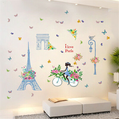 Paris Flowers Girl Room Home Decor Removable Wall Stickers Decals Decoration