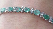"14.16 Ct Natural Emerald Tennis Bracelet 7.5"" / Emerald & White Topaz Bracelet"