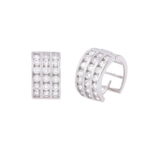 Sterling Silver Clear CZ Huggie Earrings Hinged Hoops 3 Row Zirconia 13mm x 8mm