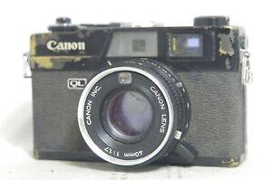 BLACK-Canon-Canonet-QL17-Rangefinder-Film-Camera-SN486316-Needs-Repair
