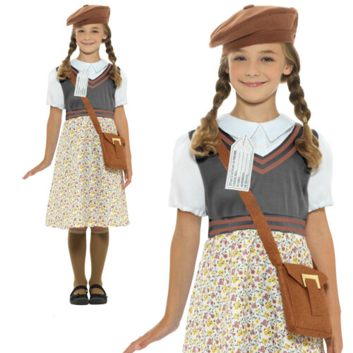 WW2 School Girl Costume Childrens World Book Day Week Fancy Dress Outfit