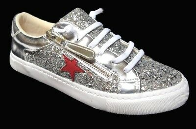 TS shoes TAKING SHAPE sz 7 38 Star Gazing Sneakers wide fit silver sparkle NIB