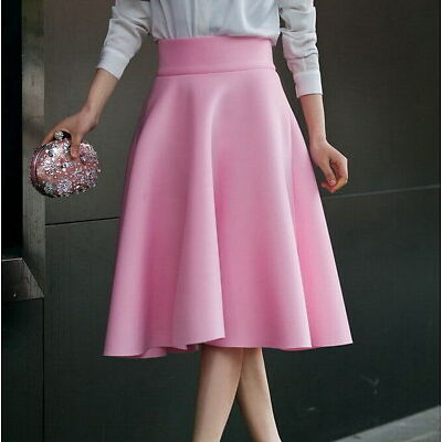 UK Women Ladies Summer A-line Full Circle High Waist Casual Party Midi Skirts