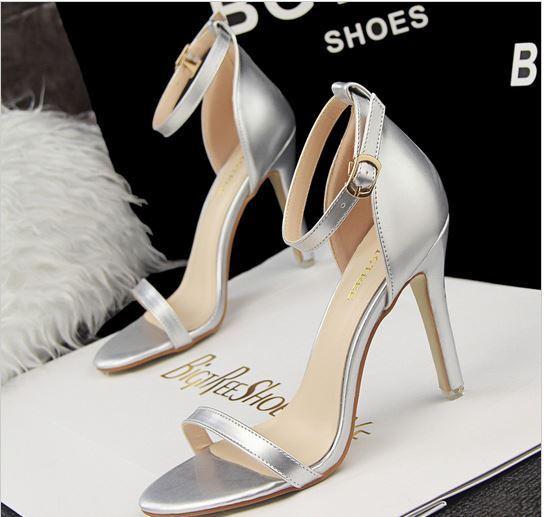 Scarpe cm sandali sandaletto donna 10 cm Scarpe spillo stiletto argento 8646 1d5b87