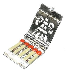 VINTAGE SILVER OPENING ENAMELLED MATCH BOOK CHARM