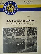 Programm 1981/82 1. FC Lok Leipzig - Sachsenring Zwickau