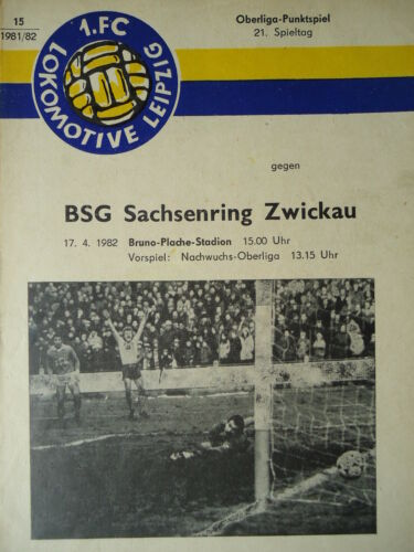FC Lok Leipzig Sachsenring Zwickau Programm 1981//82 1