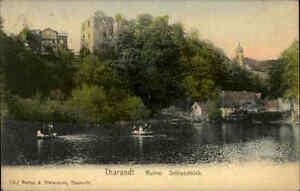THARANDT-Sachsen-Burg-Schloss-Ruine-Schlossteich-alte-Postkarte-1910-frankiert