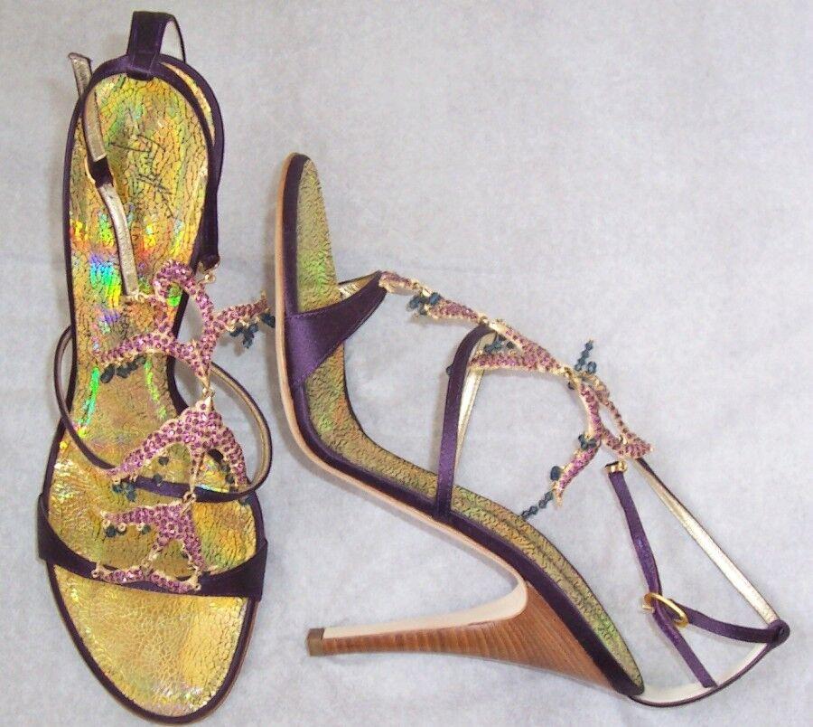 Giuseppe Zanotti púrpura Raso Con Flecos de Piedras preciosas sandalias zapatos 39.5
