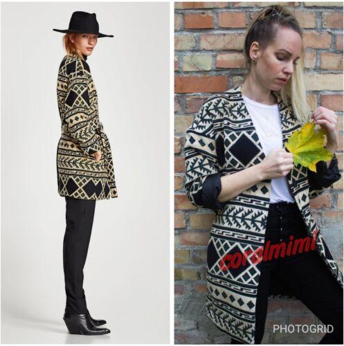 Long Coat L Zara New Geometric Beige Size Aztec Belt nwxXqYxS7