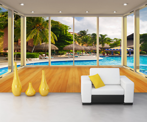 3D Arbor Swimming Pool Paper Wall Print Wall Decal Wall Deco Indoor Murals