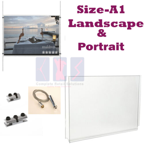 New A1 Wire Cable System Acrylic Poster Holder Shop Window Sign Display