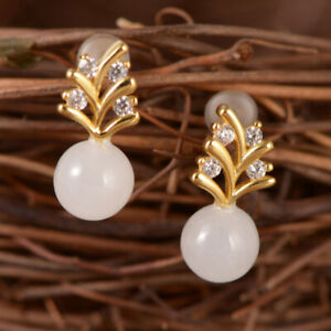 A01-Earring-Studs-Silver-925-Gold-Plated-White-Chalcedony-Zirconia-Crystal