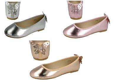 Mädchen rosa/gold/silber Spot on metallisch Schmetterling Party Balletschuhe