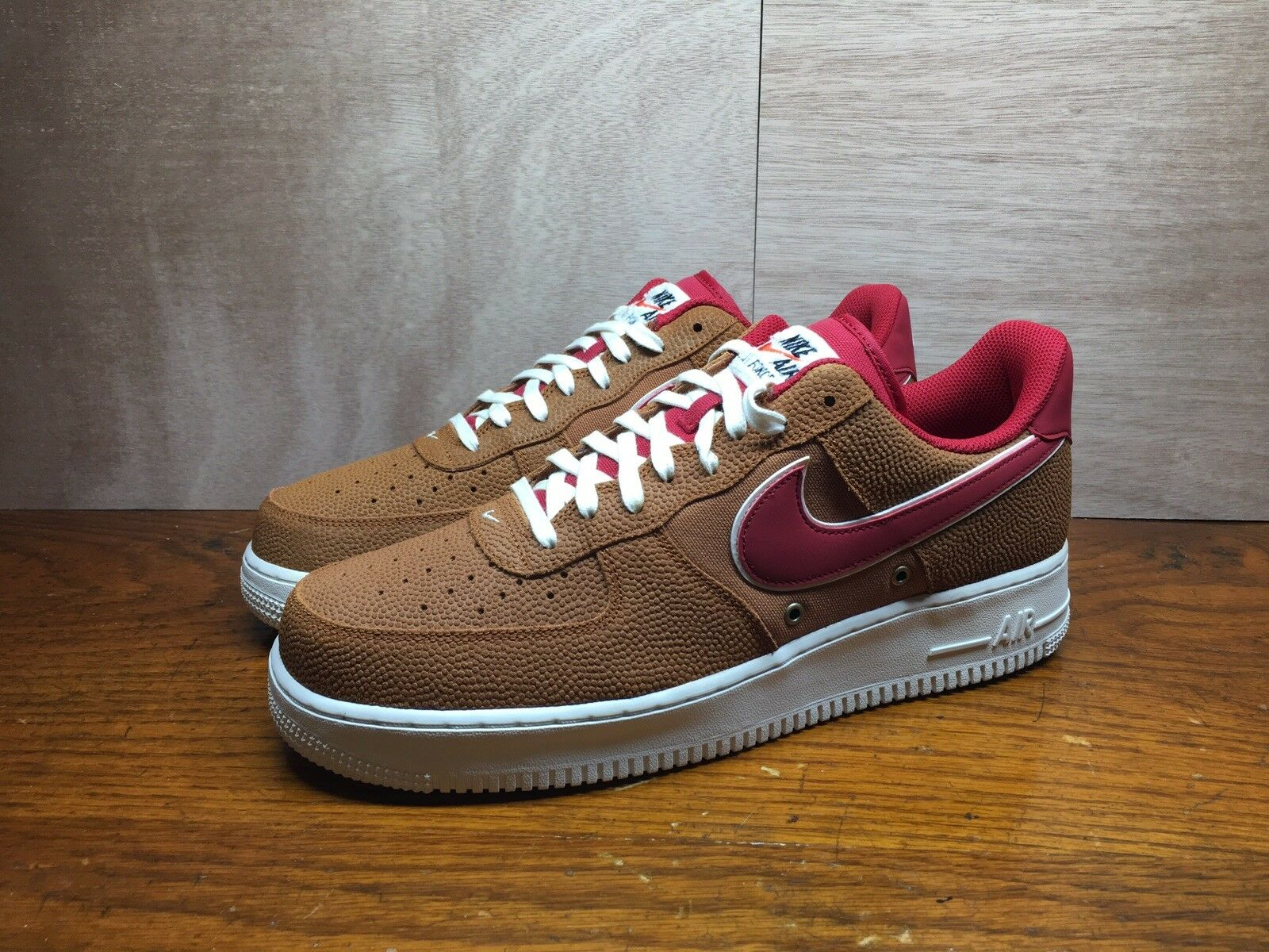 Nike Air Force 1 AF1 Low Low Low TAWNY BROWN BASKETBALL LEATHER RED 718152-206 sz 8 77c46c