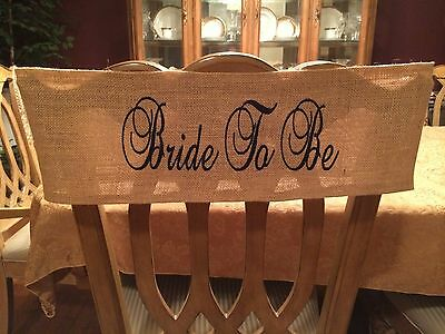 Personalized Burlap Bridal Shower Bride To Be Chair Band Sash Wrap