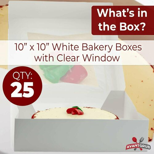 Bright White Disposable 10x10 Bakery Boxes with Window for Cake Pie /& Pastry