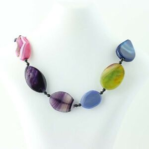 Colorful-Agate-Beaded-Necklace-30-034-Sterling-Silver-Adjustable