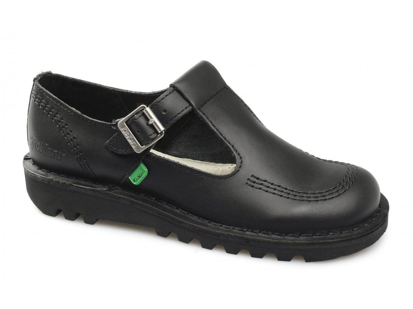Kickers KICK LO AZTEC AZTEC AZTEC Ladies Womens Leather Buckle T-Bar Strap Comfy shoes Black 5e6dbb