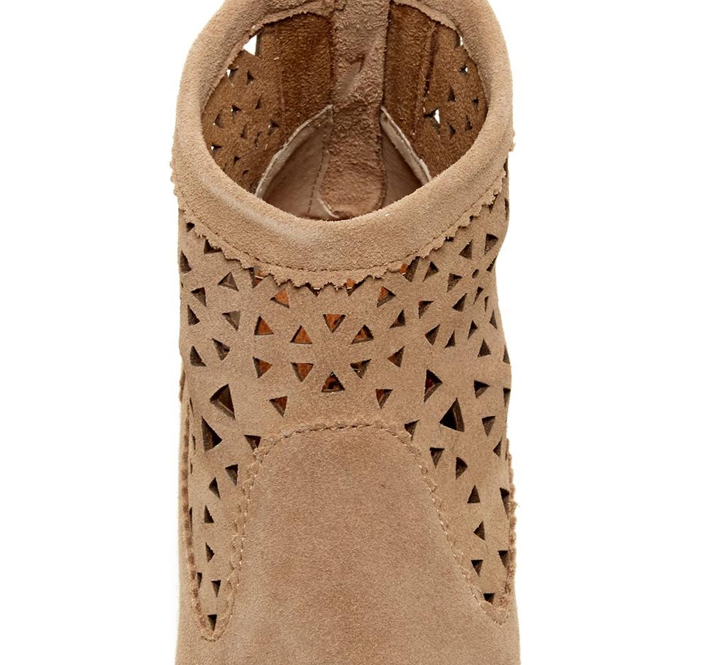 Nuevas botas al tobillo Botines Botines Botines Minnetonka recorte gris Topo botas De Gamuza Para Mujer 7 ec2083