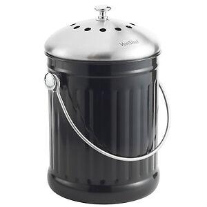VonShef-cuisine-en-acier-inoxydable-4-5-L-Compost-Caddy-Bin-amp-Odeur-Absorbant-Filtre