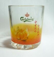 "CARLSBERG Beer Short GLASS MALAYSIA Oranges Chinese New Year Writing 3.5"" tall"