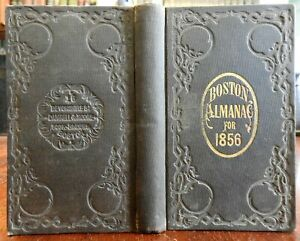 Boston-Almanac-Mass-1856-city-map-rare-book-advertising-business-directory