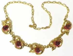 collier-bijou-vintage-couleur-or-reglable-finement-travaille-rose-rouge-4782