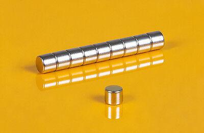 10 Neodym Magnete 6 x 5 mm runde Scheiben N45 6x5mm Supermagnete Büro Hobby