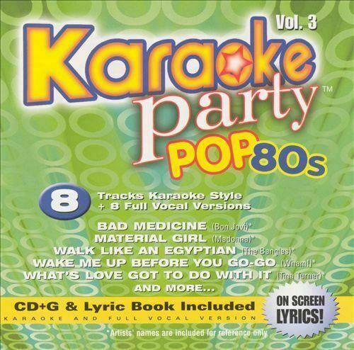 Karaoke Party Pop 80s Volume 3 CD G On Screen Lyrics Book