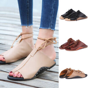 Details about 3 Style Gladiator Casual Sandals Women Summer Flats Faux Leather Flat Shoes Rome